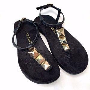 Vionic Nala T-Strap Sandal 6 M Orthopedic Studded